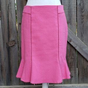 Nanette Lepore Flutter Hem Pink Pencil Skirt